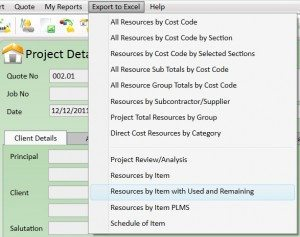 Resources by Item Export to Excel