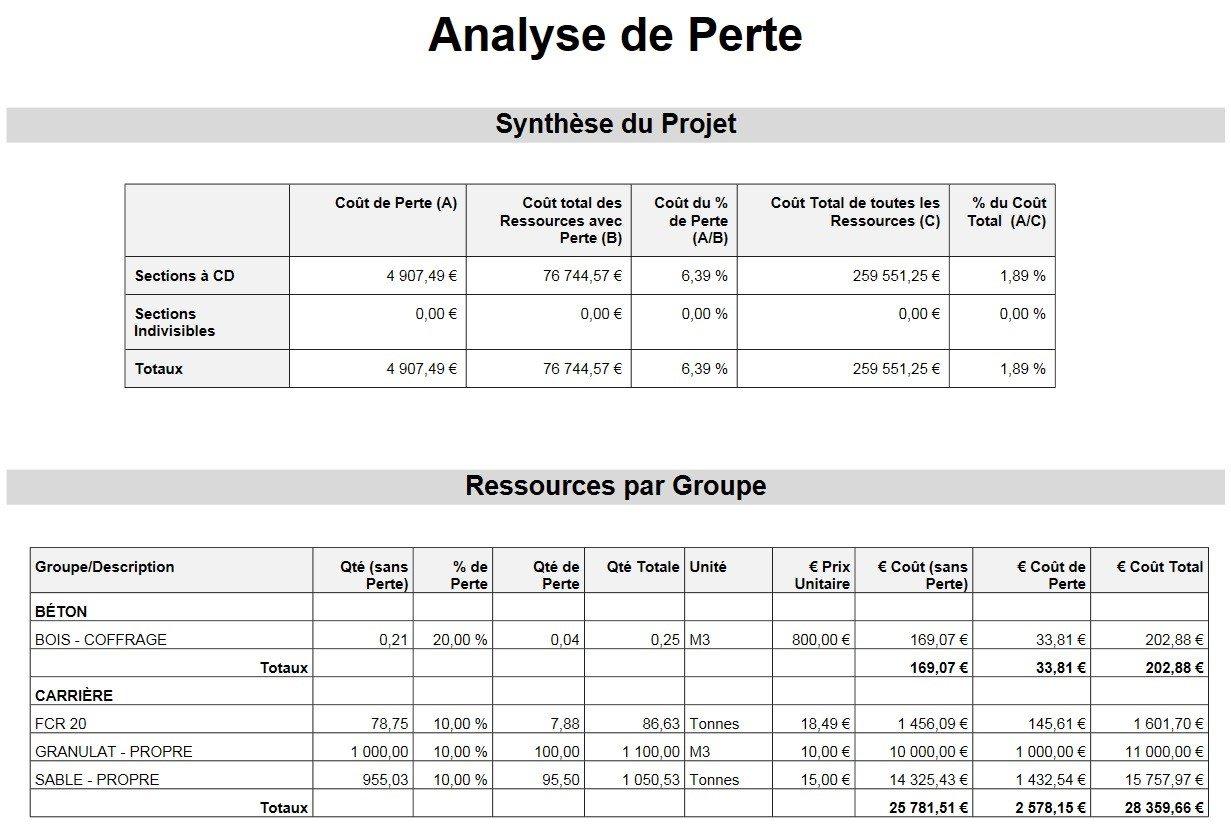 Rapport d'Analyse de Perte